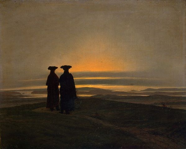 Caspar David Friedrich Aftonlandskap med tv mn